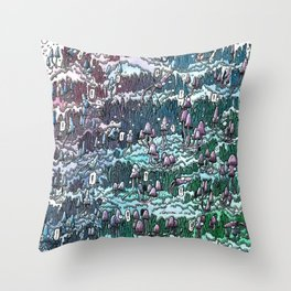 Little mushrooms –color Throw Pillow