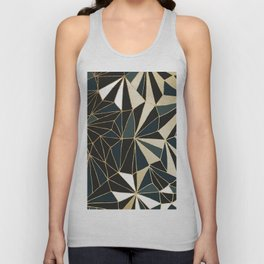 New Art Deco Geometric Pattern - Emerald green and Gold Unisex Tank Top