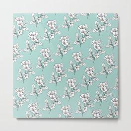 Duchess Teal White Flowers Metal Print