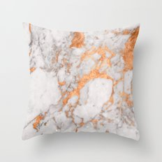 Copper Marble Throw Pillow