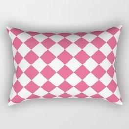 Diamonds - White and Dark Pink Rectangular Pillow