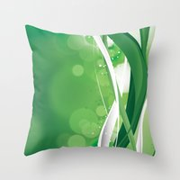 Throw Pillows featuring Green Lines by Tom Lee