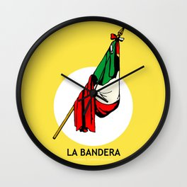 La Bandera Mexican Loteria Card Wall Clock