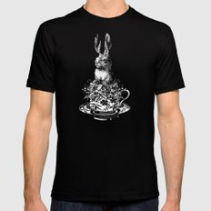 Rabbit in a Teacup | Black and White Black Mens Fitted Tee MEDIUM