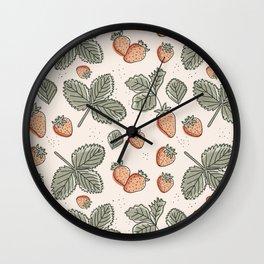 Strawberry Seamless Pattern Wall Clock