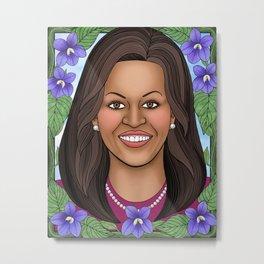 Michelle Obama portrait with blue violets Metal Print