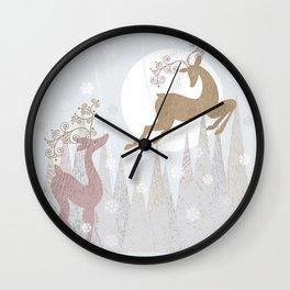 Love. Winter. Deer. Wall Clock