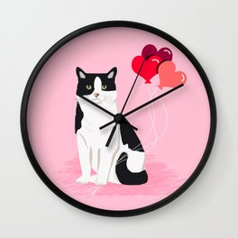 Cat valentines day love heart balloons cat breed must have Wall Clock