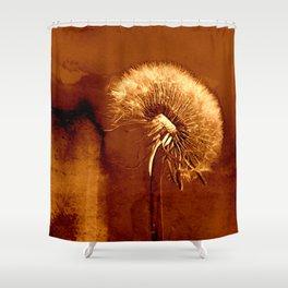 glowing dandelion on bright marsala Shower Curtain