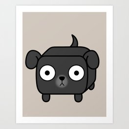 Pitbull Loaf - Black Pit Bull with Floppy Ears Art Print