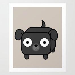 Pitbull Loaf - Black Pit Bull with Floppy Ears Art Print