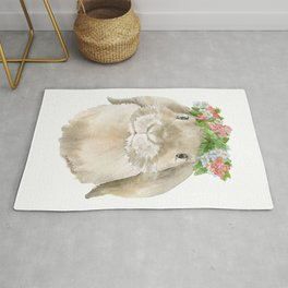 Lop Rabbit Floral Wreath Watercolor Painting Rug