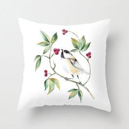 Chickadee on a tree! Throw Pillow