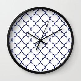 quatrefoil - navy Wall Clock