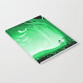 Dark Forest at Dawn in Emerald Notebook