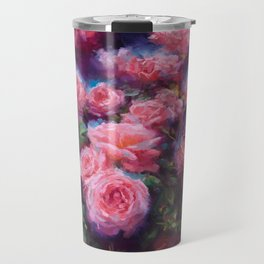 Out of Dust, impressionist pink roses Travel Mug