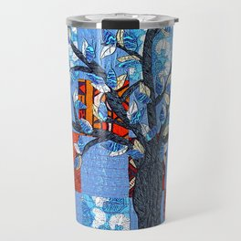Tree in blue and brown Travel Mug