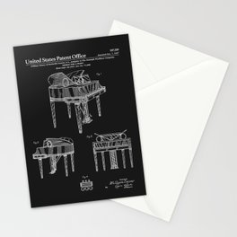 Piano Patent - Black Stationery Cards