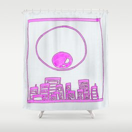 Eye Over City (pink) Shower Curtain