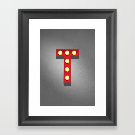 T - Theatre Marquee Letter Framed Art Print