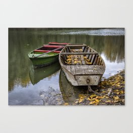 Rowboats On The Water In Autumn Canvas Print