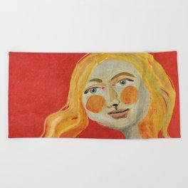 Yellow hair Beach Towel