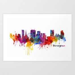 Birmingham Watercolor Skyline Art Print