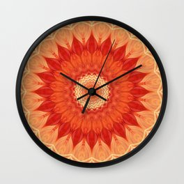 Mandala orange red Wall Clock