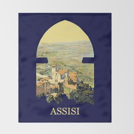 Vintage Litho Travel ad Assisi Italy Throw Blanket
