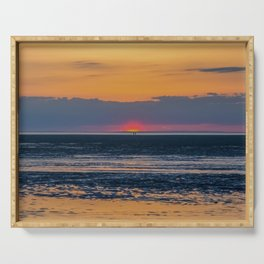 Orange and Navy Sunset, Chapin Beach Serving Tray