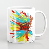 native american Mugs featuring Native American by ART HOLES