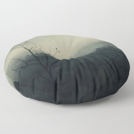 moody fog mountain Floor Pillow