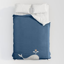 Whale in Blue Ocean with a Love Heart Duvet Cover