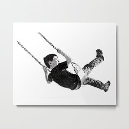 Boy in Swing Metal Print