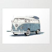 volkswagen Art Prints featuring Volkswagen Transporter by Rik Reimert