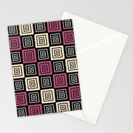 Mid Century Modern Geometric Checker 930 Stationery Cards