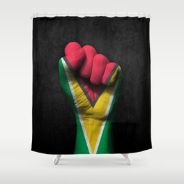 Guyanese Flag on a Raised Clenched Fist Shower Curtain