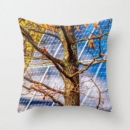 Four Seasons Photosynthesis - Autumn. Oak Tree And A Solar Power Panel Throw Pillow