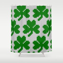 Shamrock pattern - white, green Shower Curtain