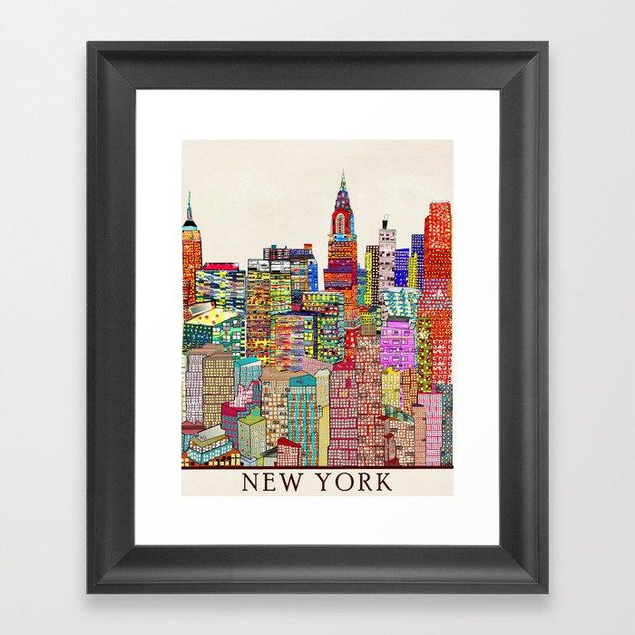 New York Nyc Skyline City Single Canvas Wall Art Picture: New York City Skyline Framed Art Print By Bribuckley