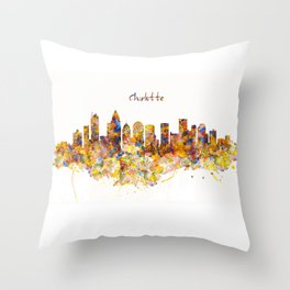 Charlotte Watercolor Skyline Throw Pillow
