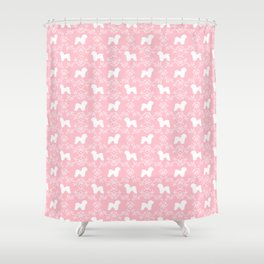 Bichon Frise dog florals silhouette pink and white minimal pet art dog breeds silhouettes Shower Curtain