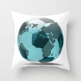 Football World Globe Throw Pillow