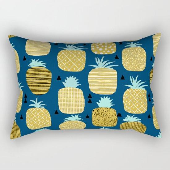Pineapple tropical navy stripes pattern summer fruits print pillow phone case Rectangular Pillow