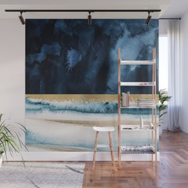 Navy Blue, Gold And White Abstract Watercolor Art Wall Mural