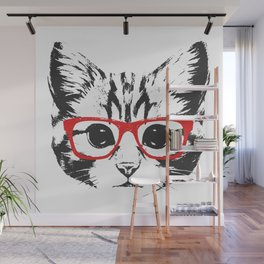 Portrait of Cat with glasses. Wall Mural