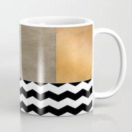 Shiny Copper Coffee Glaze And Black And White Chevron Pattern Coffee Mug