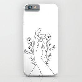 Hands Holding Flower Minimal Line Art iPhone Case
