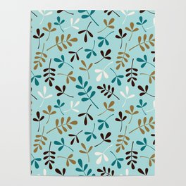 Assorted Leaf Silhouettes Teals Cream Brown Gold Ptn Poster