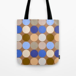 Mid-Century Giant Dots, Taupe Tan, Beige and Blue Tote Bag